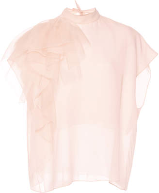 DELPOZO Ruffled Silk Blouse