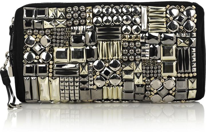Giuseppe Zanotti Bead-embellished suede clutch