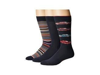 Hue Car Socks with Half Cushion 3-Pack Men's Crew Cut Socks Shoes