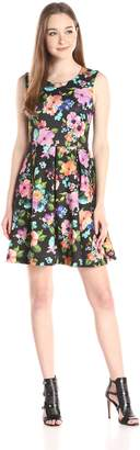 Betsey Johnson Women's Floral Scuba Fit and Flare Dress, Black/Multi