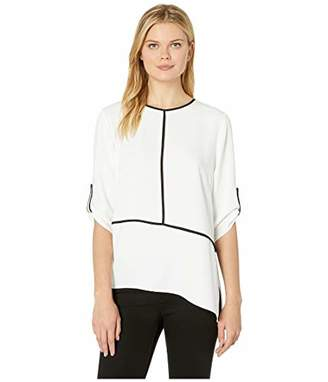 Calvin Klein Women's Roll Sleeve Angle Hem with Piping