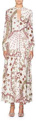Valentino Long-Sleeve Keyhole-Neck Printed A-Line Long Dress