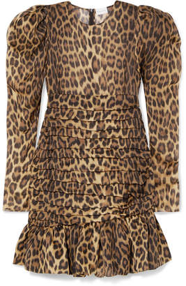 Borneo Ruched Leopard-print Silk-chiffon Mini Dress - Leopard print