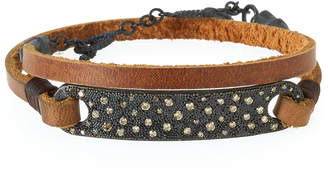 Armenta Old World Midnight Leather Wrap Bracelet