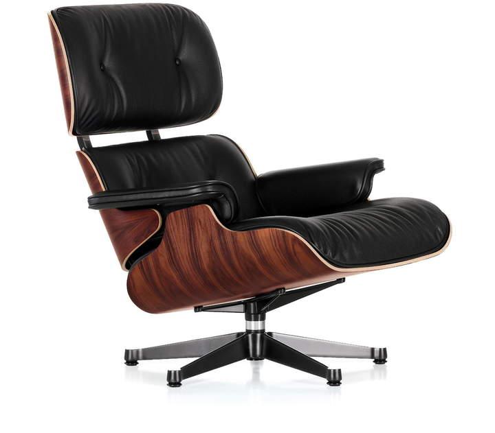 Lounge Chair, poliert / Seiten schwarz, Santos Palisander - klassisch