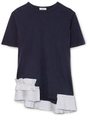 Clu Gingham Satin Ruffle-trimmed Cotton-jersey T-shirt - Navy