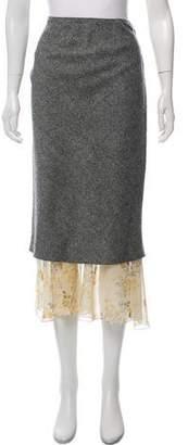 John Galliano Wool Midi Skirt