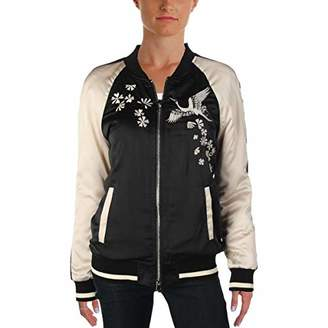 Pam & Gela Women's Bomber Jacket with Crane Embroidery
