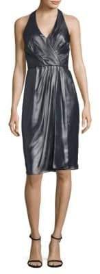 Vera Wang Foil Sleeveless Wrapped Dress