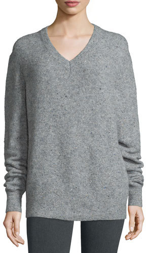 JOSEPHJoseph Fine Tweed V-Neck Pullover Sweater, Marble