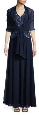 J Kara Petite Sleeveless Beaded Halter Gown