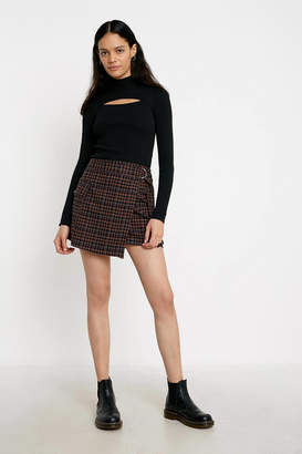 Urban Outfitters Plaid Check Utility Wrap Mini Skirt