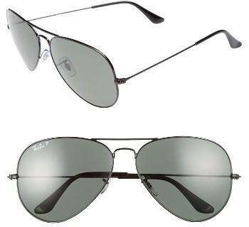 Women's Ray-Ban 62Mm Polarized Aviator Sunglasses - Gold Polarized Xl