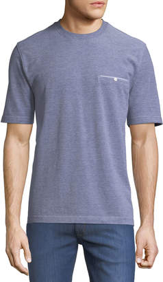 Neiman Marcus Crewneck Welt-Pocket Textured Tee, Gray