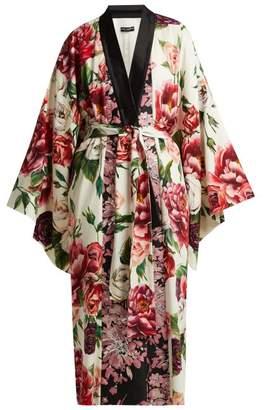 Dolce & Gabbana Peony And Rose Print Charmeuse Kimono Coat - Womens - White Multi