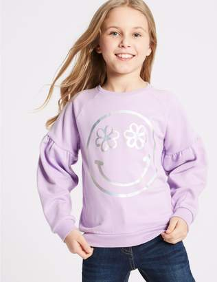 Marks and Spencer Smile Face Print Sweatshirt (3-16 Years)