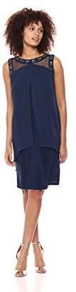 S.L. Fashions Women's SL Sheer Yoke Dress