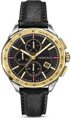 Versace Glaze Black Leather Watch, 44mm