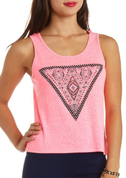 Charlotte Russe Rhinestone Tribal Triangle Graphic Tank Top