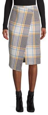 Topshop Check Wrap Midi Skirt