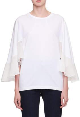 Chloé Crewneck Cape-Sleeve Jersey T-Shirt