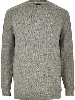 River Island Grey marl slim fit long sleeve T-shirt