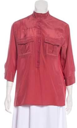 Bottega Veneta Long Sleeve Silk Top