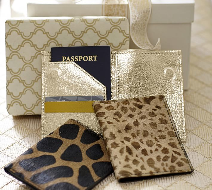 Pottery Barn Pony Hair & Gold Leather Passport Wallet