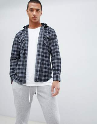 Hype shirt in grey check with hood