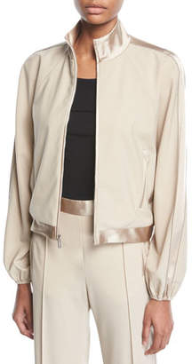 Rosetta Getty Stand-Collar Zip-Front Tuxedo Track Bomber Jacket
