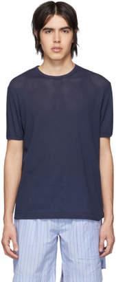 Sunspel Navy Cellular Cotton T-Shirt