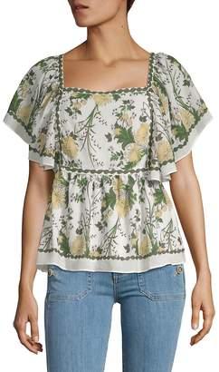 Max Studio Women's Flutter Sleeve Printed Top