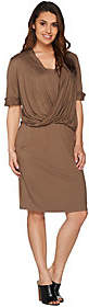 Halston H by Knit Dress with Twist Front Detail
