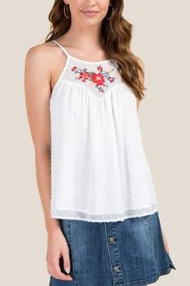 francesca's Erin High Neck Embroidery Tank - White