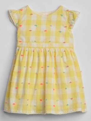 Gap Swiss-Dot Gingham Dress