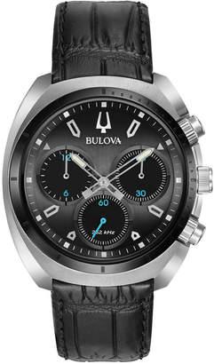 Bulova 43mm Men's Chronograph Watch w\/ Leather Black