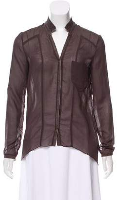 Helmut Lang Leather-Accented Chiffon Top