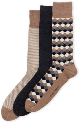 Cole Haan 3-Pack Diamond & Stripe Socks