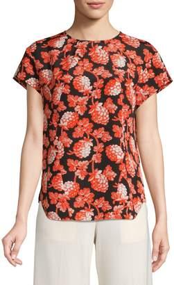Diane von Furstenberg Printed Short Sleeve Blouse