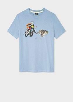 d450414810 Men's Sky Blue 'PS Motocross' Print Organic-Cotton T-Shirt