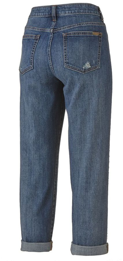 JLO by Jennifer Lopez cuffed denim boyfriend jeans - women's