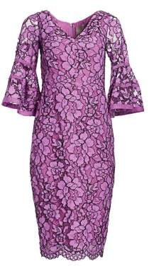Lela Rose Corded Lace Flounce Sleeve Dress