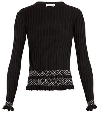 Altuzarra Malou Ruffled Cuff Ribbed Knit Sweater - Womens - Black