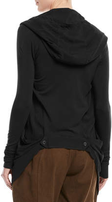 Urban Zen Tie-Front Hooded Draped Cardigan