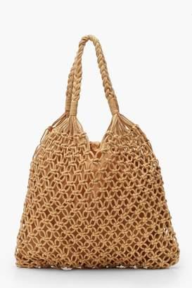 boohoo Macrame Shopper Bag
