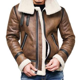 c00916e00d0 ThePass-men clothing ThePass Men Winter Warm Fur Coat Fur Collar Liner  Lapel Leather Zipper