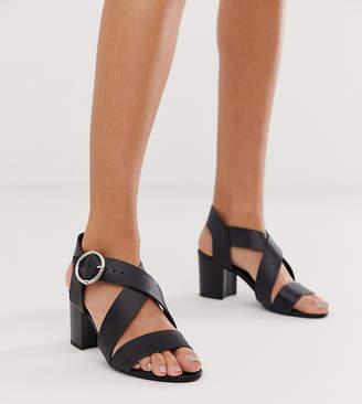 New Look cross strap block heeled sandal in black