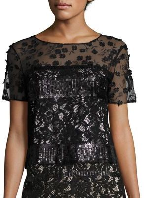 Elie Tahari Jules Embroidered Sequin & Lace Blouse $398 thestylecure.com