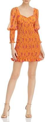 For Love & Lemons Peony Smocked Mini Dress