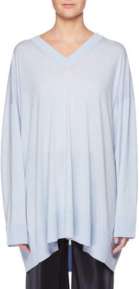 The Row Sabrinah V-Neck Long-Sleeve Wool Tunic Top